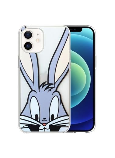Microsonic Microsonic iPhone 12 Desenli Kılıf Mutlu Tavşan Renkli